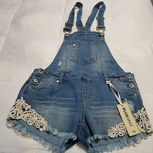 Blue Spice Jeans Overall Shorts. Sz. 11. NWT.